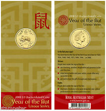 2008 Lunar Series - Year of the Rat, $1 Uncirculated Coin