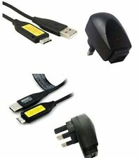 SAMSUNG PL121 DIGITAL CAMERA USB CABLE + BATTERY CHARGER WALL PLUG