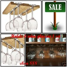 Wall Mounted Wood Wine Glass Holder Rack Bar Shelf Storage Under Cabinet Decor