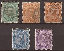 1879 UMBERTO I c. 5 + 10 + 20 (x 2) + 50 VARIE GRADAZIONI USATI E PERFETTI € 58