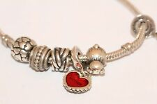 Pandora silver Bracelet With 6 Charms Including Mother and Daughter Heart Charms