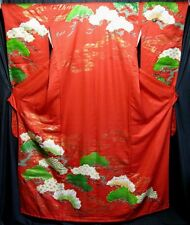 """Pine and Dandy"" Vintage Japanese Women's Silk Wedding Kimono Kakeshita"