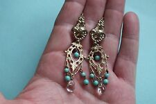Boucles d'oreilles anciennes p.or  NAPOLEON III  Antique g.p earrings - 6,5 cm !