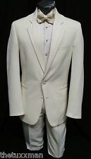 43 S Perry Ellis Mens Ivory/Cream Tuxedo Dinner Jacket Tux Coat Wedding Cruise