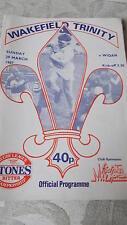 Wakefield Trinity v Wigan programme 29.3.87