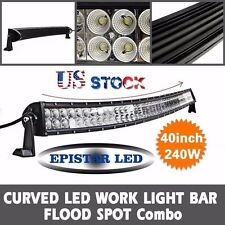 240W 40INCH LED Work Light Bar Curved FLOOD SPOT Combo Offroad Driving Lights US