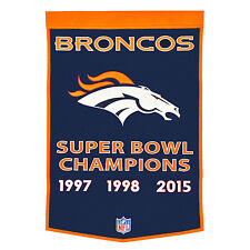 "Denver Broncos 24"" x 36"" Genuine Wool Super Bowl Dynasty Banner 2015 NFL"