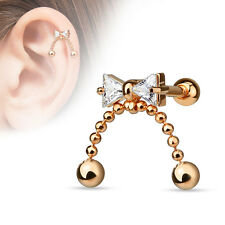 1 Pc 14K Rose Gold Plated C.Z. Ribbon Chain Ball Tragus, Cartilage, Earrings