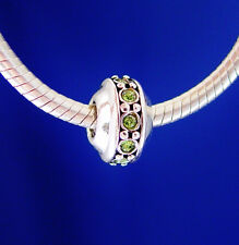 Birthstone August Peridot Green Stones Spacer Silver European Charm Bead