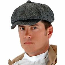 Steampunk Cab Driver Grey Gray Vintage Herringbone Hat Cap Costume Accessory