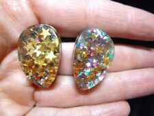 Authentic Vintage 1950's Multi Colored Confetti Lucite Clip Earrings