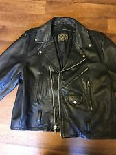 VINTAGE 80's CLASSIC BLACK LEATHER OPEN ROAD MOTORCYCLE BIKER JACKET MENS L