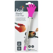 "Zeal 7"" Stainless Steel & Silicone Handy Cooks Tongs - Red Pink Green or Purple"