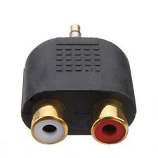 1PC RCA/PHONO FEMALE TO STEREO MALE 3.5MM JACK PLUG AUDIO CONNECTOR GOLD PLATED