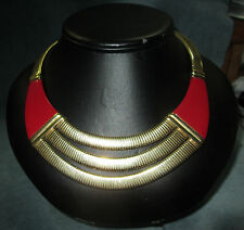Vintage Givenchy Paris/New York Egyptian Revival Runway Red/Gold Colored Choker