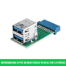 Dual USB 3.0 Type A Female to Motherboard 20 Pin Box Header Slot Adapter PCBA