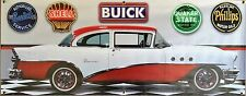 1955 BUICK SPECIAL TWO DOOR WHITE RED GARAGE SCENE BANNER SIGN ART MURAL 2 X 5