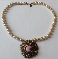 VINTAGE MIRIAM HASKELL SIGNED PINK CAB CLEAR RHINESTONE & PEARL NECKLACE