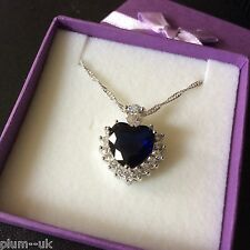 P168A Blue Sapphire Heart & Diamond Crystals Pendant & Chain White Gold gf BOXED