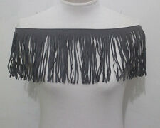 1yard Suede Faux Leather Gray Fringe Tassel Lace Trimming Width 15cm