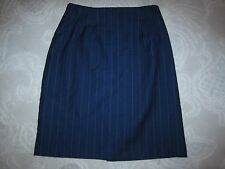 Vintage J.G. Hook navy blue pinstripe wool pencil skirt, ladies' size 12