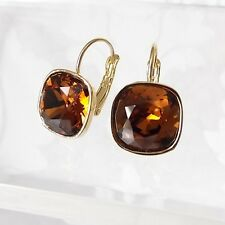 Chocolate Brown Golden Leverback Drop Earrings w/ Cushion Cut Swarovski Crystal