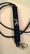 Police Thin Blue Line Lanyard with handcuffs & Swivel Silver Toned Lobster Clasp