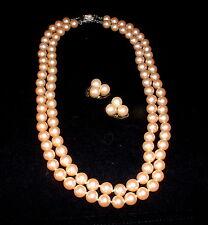 Art Deco doppelreihige  Perlenkette mit Ohr Clips 45 cm Verschluß 835 Silber