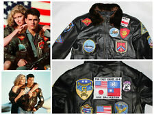 Top Gun Black/DBrown Mens A2 Bomber Fur Collar Real Leather Movie Winter Jacket