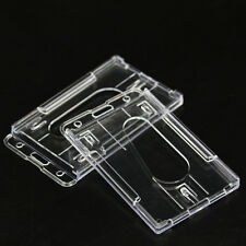2Pcs Vertical Hard Plastic ID Badge Holder Double Card Clear Business Work Cards