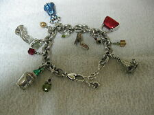 COLLECTIBLE BRIGHTON HAPPY NEW YEAR CHARM BRACELET DRESS SHOE PURSE CROWN BUCKET