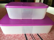 TUPPERWARE Magenta Freezer Mates Pink Purple Lids Storage Containers 6 & 13 Cup