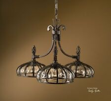 "Uttermost Galeana,Mouth blown glass 3-Lt Chandelier , 19"" H X 28"" Dia 21046 New"
