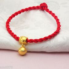 New Pure 999 24k Yellow Gold Bracelet Unique Bell Lucky Knitted Bracelet 16mm