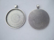 2 Large Antique Silver Round Cameo Cabochon Settings 38mm Pendant Tray Blanks
