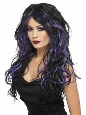 Sexy Womens Gothic Witch Wig Black With Streaks Fancy Dress Sexy Funky Hair