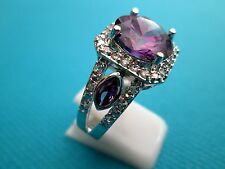 925 Silver Natural Amethyst And White Topaz Ring Size R 3/4, US 9  (rg1809)
