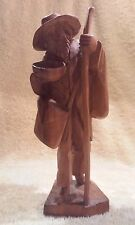 Hand Carved Wood Figural Man with Walking Stick, NO Maker Mark