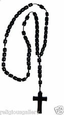 Men's Large Size Solid Black Wood Rosary with Cross - Made in Brazil