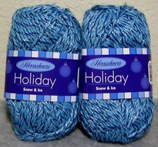 Lot of 2 Herrschners Holiday 98% Acrylic #4 Sparkle Yarn: Snow & Ice~ Blue Multi