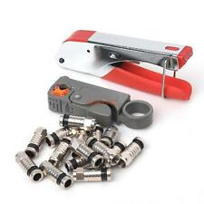 Coaxial Compression BNC Connector RG6 RG59 Coax Cable Stripper Crimper Tool set