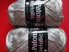 Patons Metallic fashion yarn, Platinum, lot of 2 (252 yds each)