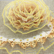 New 5 Yards 3-Layer 45mm Golden Organza Lace Gathered Pleated Sequined Trim JJ12