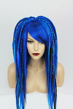 Blue and Black Synthetic Dreads Wig Halloween Goth Cosplay Kawaii Costume