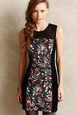ANTHROPOLOGIE NWT Paisley Panel Petite Shift Dress Black LBD Sz 8P Fits 4P $178
