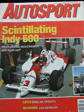 AUTOSPORT MAGAZINE MAY 30 1991 INDY 500 LOTUS JUHA KANKKUNEN TOURING CAR HOLIDAY