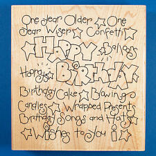 Lg. Happy Birthday Card Rubber Stamp by JRL Design Words Sayings Background CTMH