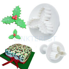 2X CHRISTMAS VEINED HOLLY ICING CUTTER PLUNGER SUGARCRAFT CAKE DECORATING SC