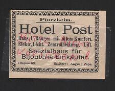PFORZHEIM, Werbung 1912, Hotel Post Spezialhaus für Bijouterie-Einkäufer