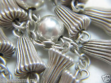 """† UNIQUE VINTAGE SOLID STERLING """"WEDDING BELL"""" ROSARY 34 1/2"""" 32 GRS NECKLACE †"""